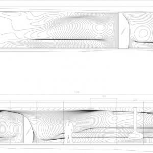 Elewacja południowa (u góry) i północna (u dołu) il. Snohetta