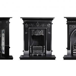 Charakterystyczne dla epoki wiktoriańskiej kominki wyposażone były w żeliwną osłonę paleniska z okapem. Bogate zdobienia wypełniały każdy centymetr obudowy. (fot.Victorian Fireplaces)