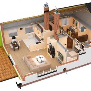 Przykład poprawnego przepływu powietrza w domu jednorodzinnym. Il. Darco