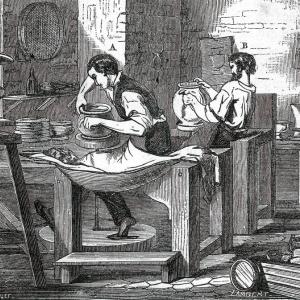 Produkcja ceramiki - rycina z roku 1864 z Dictionnaire de Chimie Industriel (Barreswil, A. Girard).