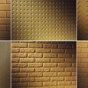 Dostępne są elementy z wytłoczonym na powierzchni wzorem brykietów, tradycyjnych cegieł oraz kostek piaskowca o nierównych brzegach, a także pionowych żeberek lub jodełki. Interesująco wygląda wzór o nazwie diament, utworzony z niedużych czworokątnych zagłębień, w których załamuje się światło płonącego ognia. fot. Steinberg
