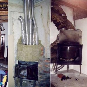 """Brak wiedzy na temat szkodliwości niezabezpieczonej wełny mineralnej może doprowadzić do poważnych problemów zdrowotnych. Fotografie przedstawiają autentyczne """"zabudowy"""" wkładów kominkowych. (fot. Jotul)"""