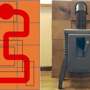 """Schematyczny układ podłączenia """"kozy"""" do prefabrykowanego akumulacyjnego wymiennika ciepła (CMA) / piec Brunner podłączony do układu ceramicznych modułów akumulacyjnych CMA firmy Cebud"""