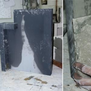 Ścianki boczne. Do bocznej ściany kleimy dodatkowe słupki stanowiące front kominka. Tak przygotowaną  konstrukcję gruntujemy, a następnie przyklejamy kamienne płytki dekoracyjne.
