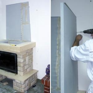 Czopuch. Po docięciu płyt na wymiar wykonujemy tylną ściankę czopucha przyklejając ją do ściany podobnie jak przypadku izolacji tylnej ściany. Do niej przymocujemy za pomocą wkrętów ścianki boczne. Z cienkich pasków płyty Super Isol tworzymy próg, który mocujemy do belki wkrętami. Do progu przykręcimy ścianki boczne (i przednią) czopucha. Próg należy również uszczelnić i zabezpieczyć wkręty.
