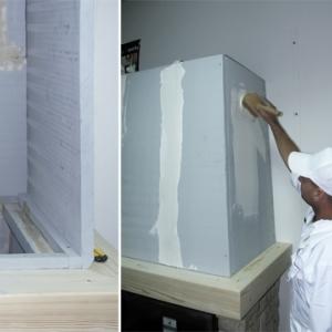 Prace wykończeniowe. Zewnętrzną powierzchnię gruntujemy, łączenia zabezpieczamy siatką a narożniki czopucha specjalnymi aluminiowymi profilami. Tak przygotowany czopuch możemy pokryć warstwą dekoracyjną - tynk, gładź itp.