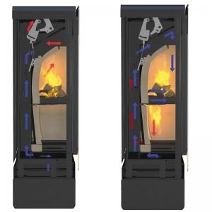 Gdy komora górna wypełni się ogniem i osiągnie odpowiednią temperaturę, czujniki bimetaliczne otwierają system kanałów transportujących wewnątrz pieca gaz drzewny, który zaczyna się palić w komorze dolnej. il. Rais