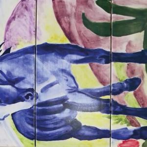 Kompozycja na trzech kaflach malowana techniką podszkliwną fot. Kafel-Art