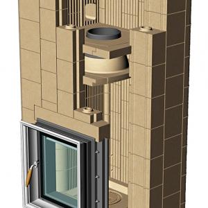 Budowa urządzenia polega na modułowym złożeniu właściwych elementów w ogniotrwałą bryłę, która łączy w sobie cechy wkładu kominkowego, paleniska szamotowego i masy buforowej, Fot. Kafel-Kar