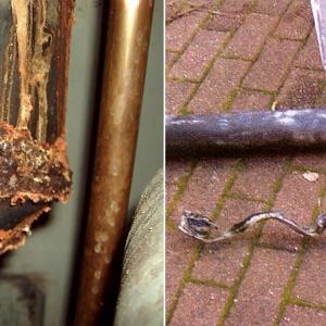 Przykład korozji kolana stalowego (po lewej) zastosowanego w kominie / efekt działania wysokiej temperatury (>200 °C) na rury z PP (po prawej). FOT. SCHIEDEL