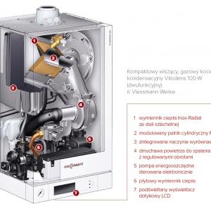 Kompaktowy wiszący, gazowy kocioł kondensacyjny Vitodens 100-W (dwufunkcyjny) il. Viessmann Werke