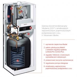 Gazowy kocioł kondensacyjny Vitodens 222-F z emaliowanym wężownicowym, pojemnościowym podgrzewaczem c.w.u., il. Viessmann Werke